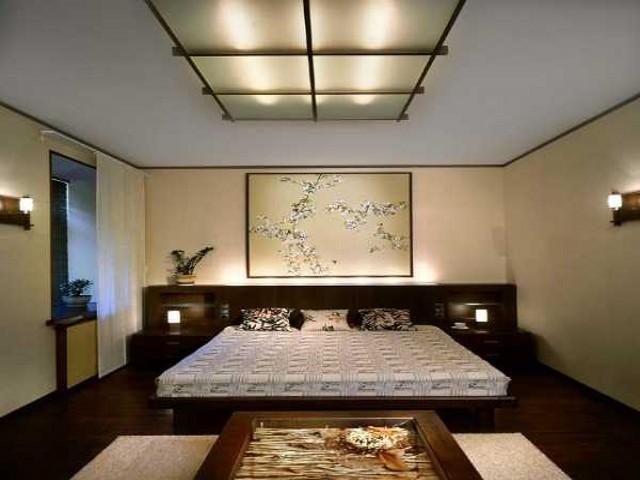 Освещение спальни в японском стиле