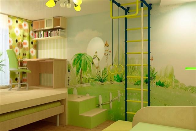 Фотообои в зеленых тонах для детской комнаты