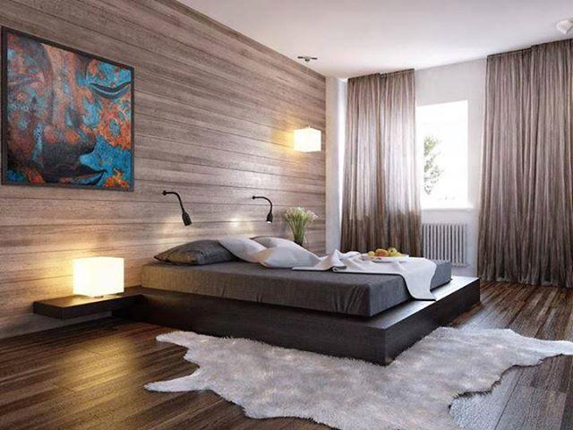 Древесные тона для спальни в эко стиле