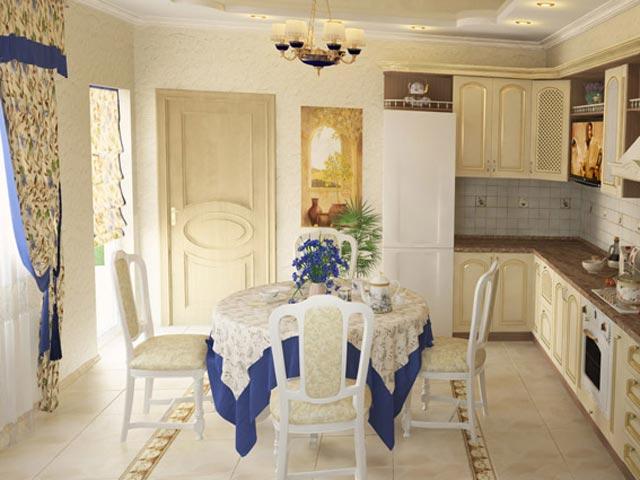 Интерьер кухни в стиле провинциального дома 18 века