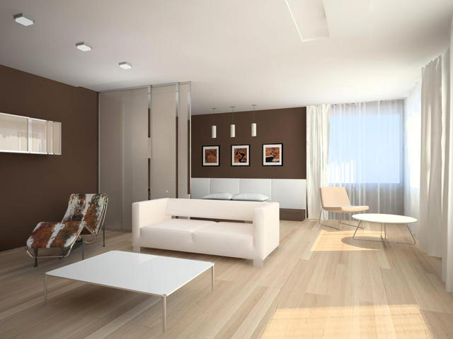 Современный вид гостиной в минимализме