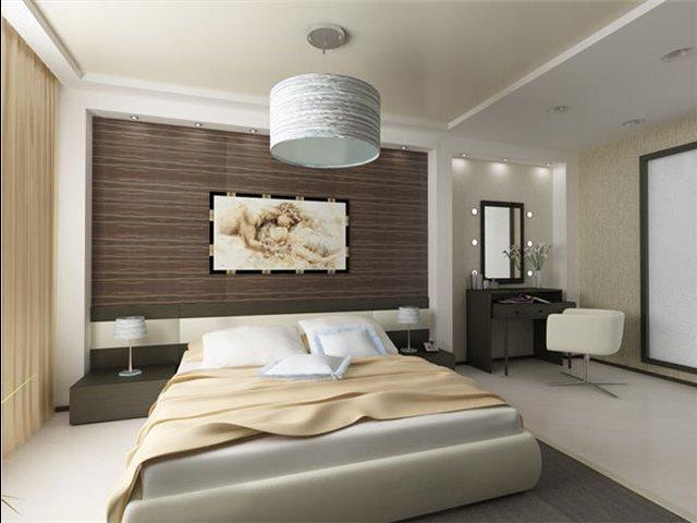 Деревянные обои с тиснением в спальне