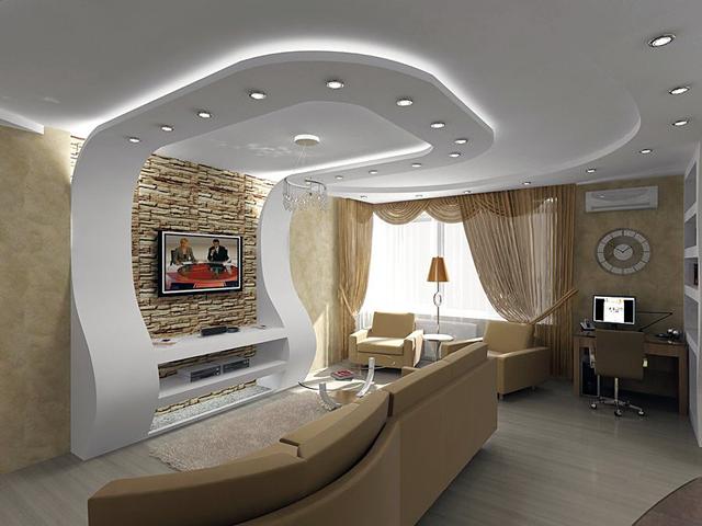 Потолок в зале: ТОП-150 фото новинок дизайна 28