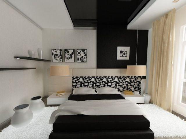 Дизайн черно-белой спальни