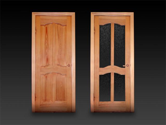 Деревянная дверь в ванной комнате