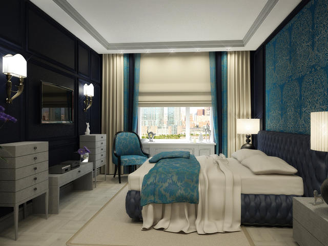 Оформление стен в спальне в стиле арт-деко