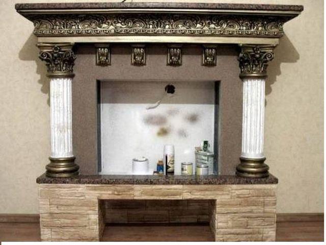 Кирпичный камин с колоннами