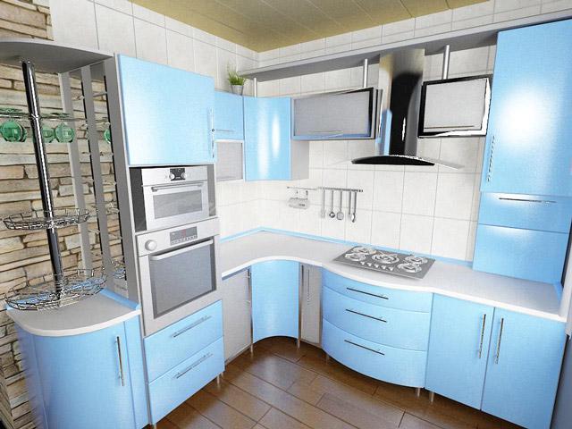 Голубой на кухне