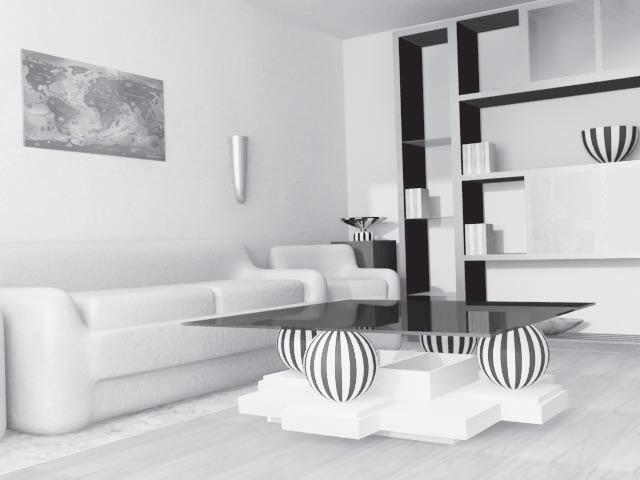гостиная с мебелью в хай-теке