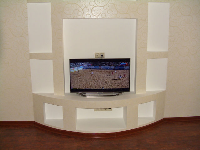 Стенка из гипсокартона под телевизор своими руками