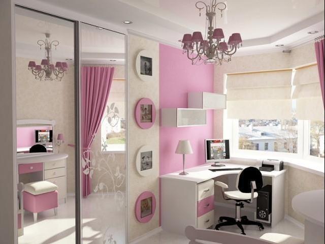 комбинирование в комнате девочки