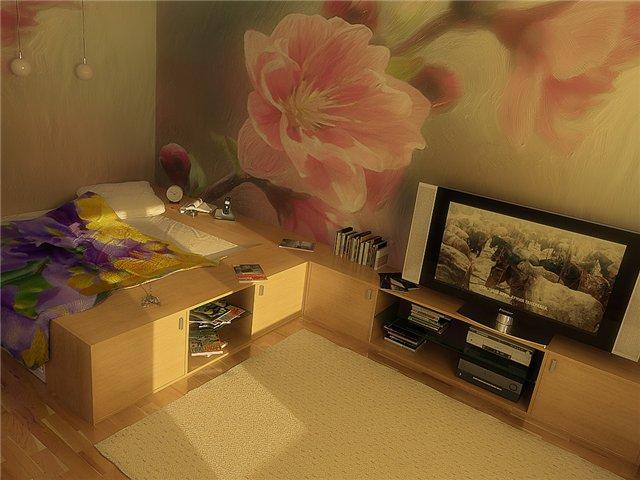 кровать с выдвижными ящиками или подиумом