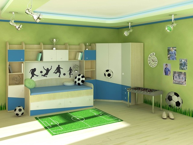 несколько видов-стилей комнат для мальчика