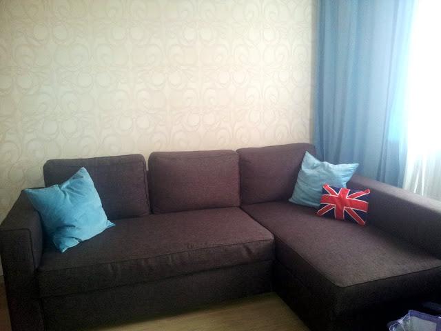 дизайн спальни в коричнево-голубом