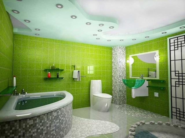 Зелёный в ванной