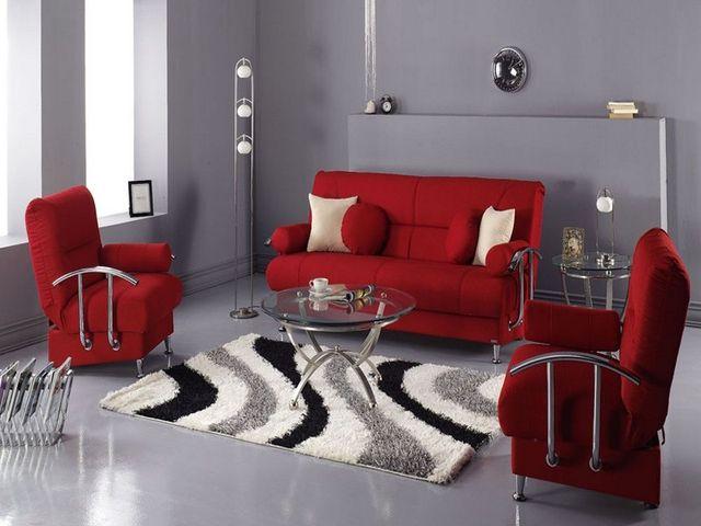 гостиная с красной мебелью