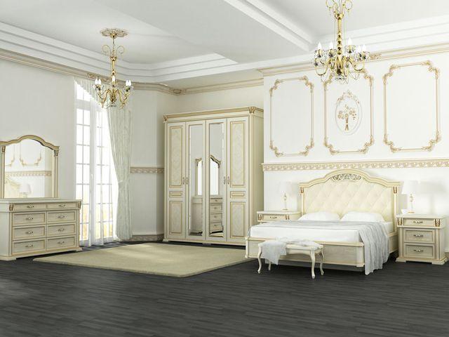 классическая спальня в белых тонах
