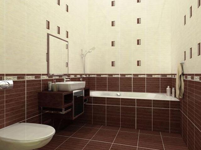 Отделка стен ванной плиткой двух цветов
