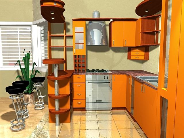 Угловой гарнитур в оранжевых тонах