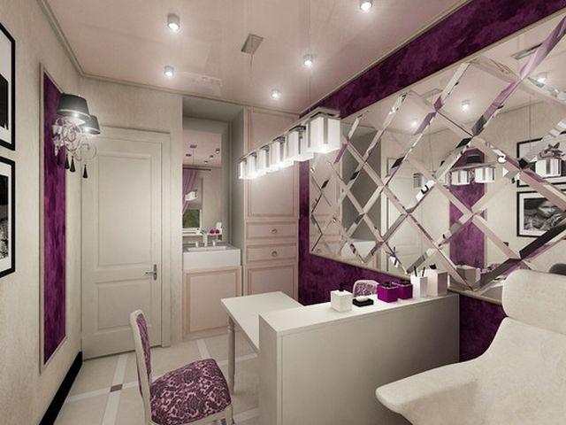 Интерьер спа-центра в пурпурном цвете