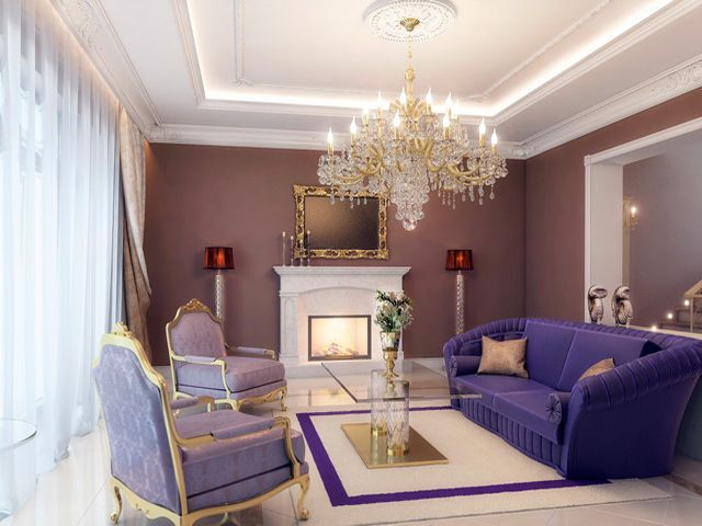 Трехярусная классическая люстра в интерьере гостиной