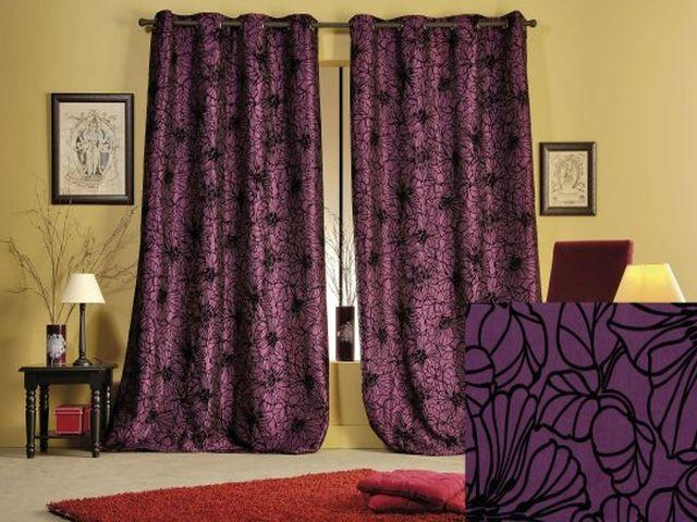 фиолетовые шторы на золотых люверсах