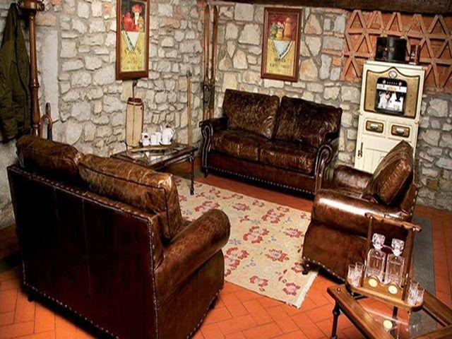 кожаная мебель в альпийской гостиной