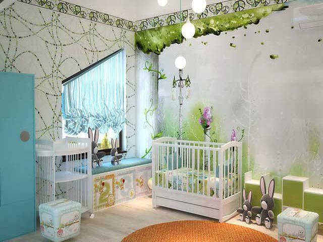 нейтральные обои в комнате новорожденного мальчика