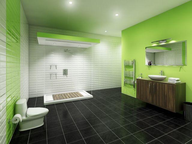 Интерьер ванной в салатовом и черном цвете