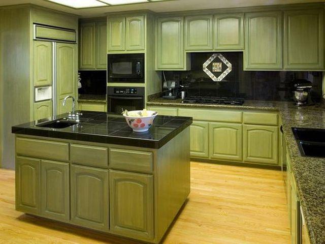 оливковая кухня в современном стиле