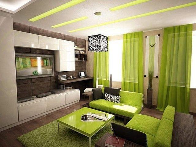 Салатовый пол в гостиной