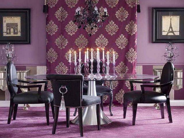 нарядные фиолетовые шторы в столовой