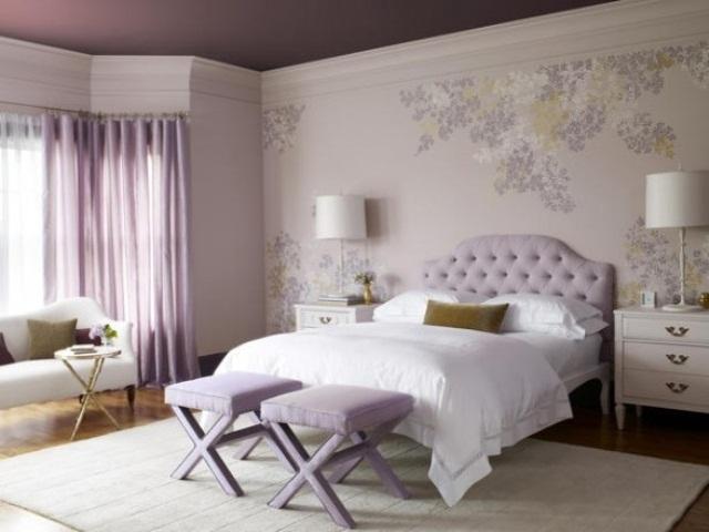 Лавандовые тона в интерьере прованс спальни