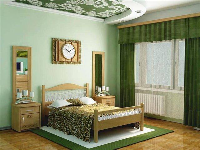 светло-зеленые обои в спальне