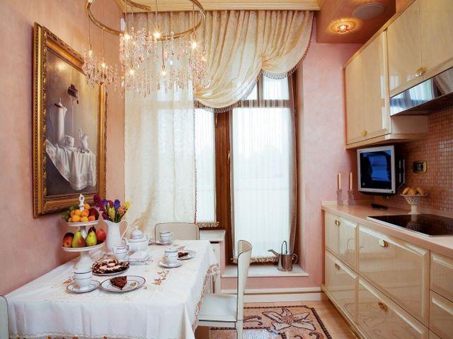 нежно-розовая кухня