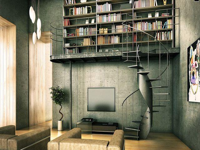 домашняя библиотека в урбанистическом дизайне