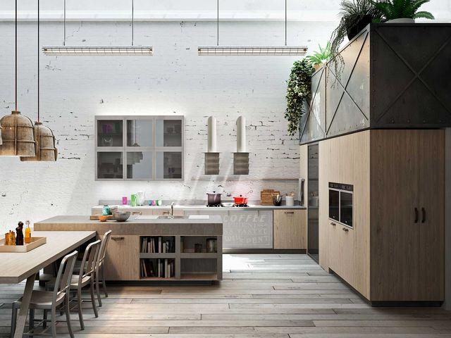 индустриальная кухня со встроенной техникой
