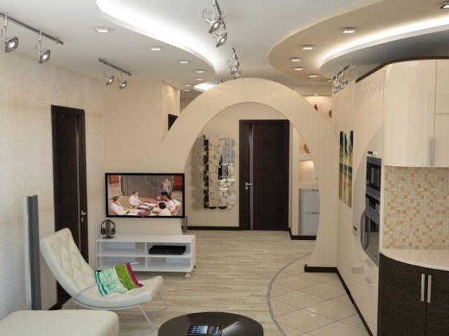 гостиная, объединенная с коридором