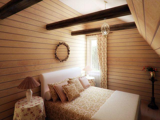 уютная комната на чердаке в стиле шале
