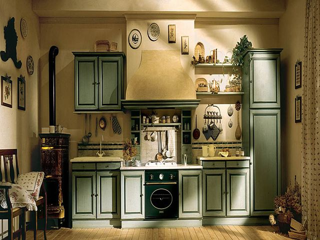 горчично-оливковая кухня