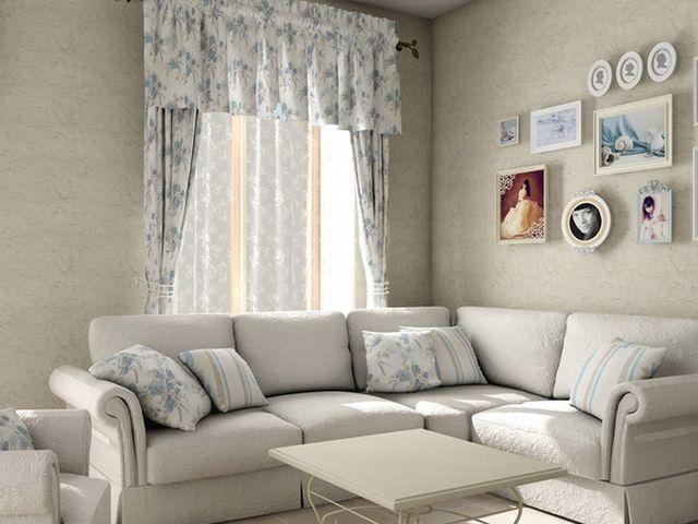 Простые шторы в гостиной стиля прованс