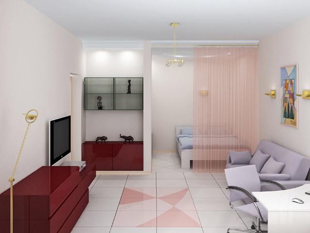 Дизайн однокомнатной квартиры с нишей для семьи с ребенком