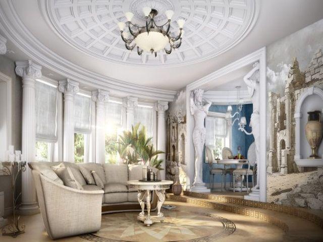 многоуровневый потолок в римском стиле