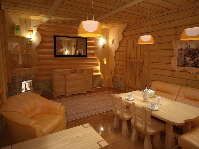 Деревянная отделка стен, пола и потолка в русском стиле
