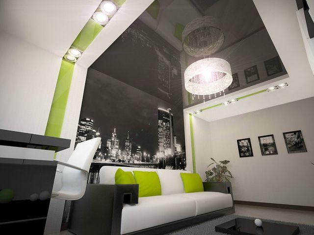 урбанистическая гостиная с использованием зеленых цветов
