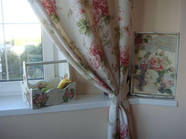 винтажные шторы на кухне