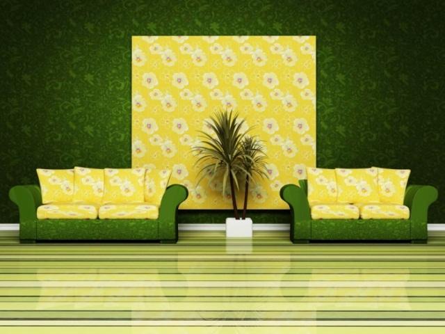 неоновые зеленые обои в стиле хай-тек
