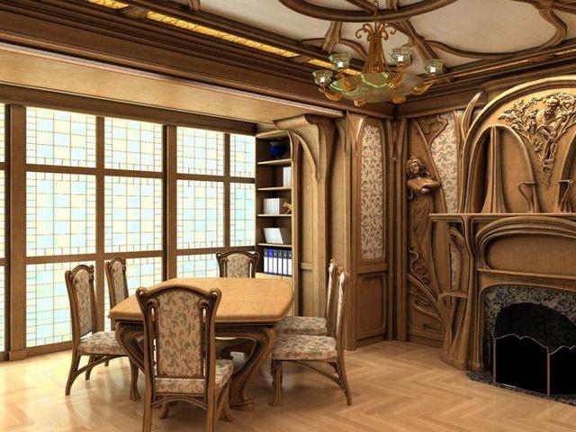 кабинет в стиле арт-нуво с отделкой резными деревянными панелями
