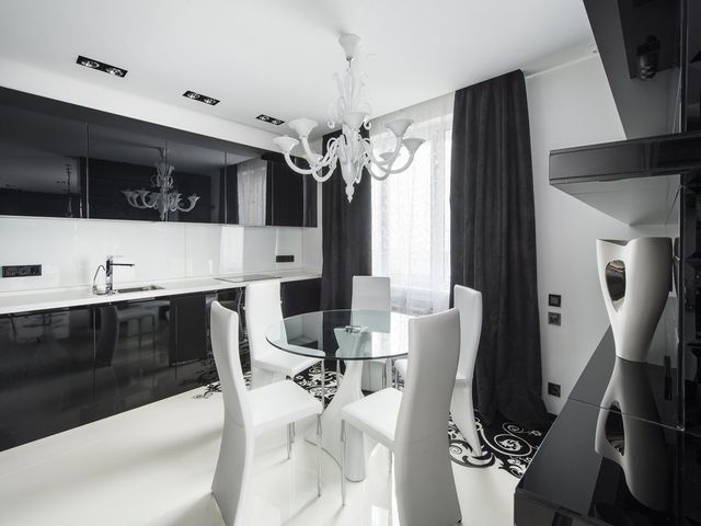 черно-белая кухня в стиле арт деко