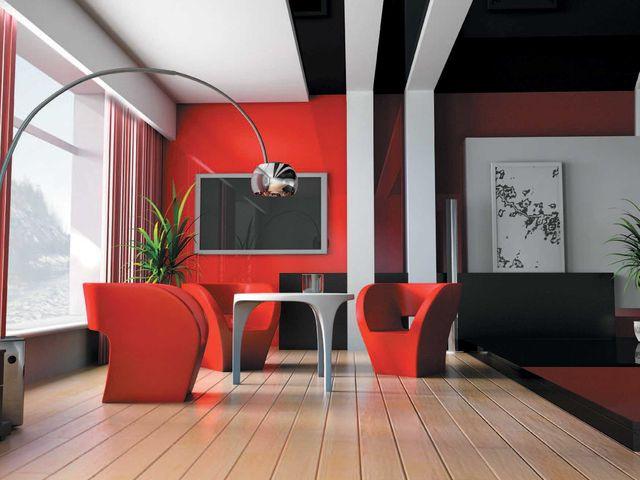 яркая мягкая мебель в хай тек интерьере